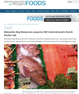 Makushin Bay Resources acquires NSF International's Dutch Harbor lab